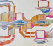 Aquarelle des conduits d'air sur le plafond Images stock
