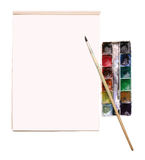Aquarelle and a drawing album with place for text stock photo