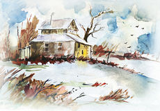 Aquarelle drawing of country landscape Stock Image