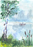 Aquarelle drawing of a fisherman in the boat Royalty Free Stock Images