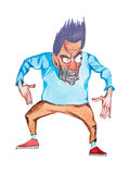 Aquarelle drawing of furious cartoon man standing in attacking or threatening pose Royalty Free Stock Photos
