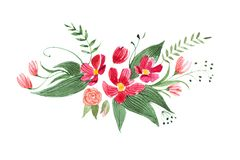 Aquarelle drawing of pretty little bouquet made of various red, purple and pink flowers and leaves isolated on white