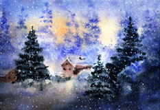 Aquarelle drawing of winter country landscape Stock Photos