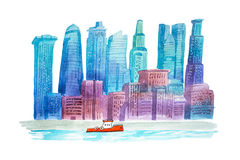 Aquarelle drawings cityscape skyline downtown watercolor illustration. Aquarelle drawings cityscape skyline downtown watercolor illustration vector illustration
