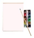 Aquarelle en een tekeningsalbum met plaats voor tekst stock foto