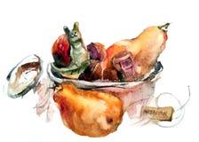 Aquarelle : escargot de porcelaine dans un panier avec des lièges du champagne illustration libre de droits