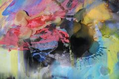 Aquarelle et cire en pastel, fond abstrait Photos stock