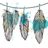 Aquarelle feather set Royalty Free Stock Photography