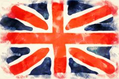 Aquarelle of flag of Great Britain. In watercolors royalty free illustration