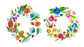 Aquarelle floral composition for card design or decoration element. Isolated hand drawn watercolor wreath composed of. Bright flowers and leaves vector illustration