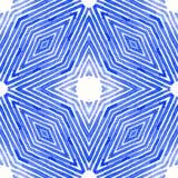 Aquarelle géométrique bleue Configuration sans joint mignonne Rayures tirées par la main Texture de brosse Chevron moderne illustration stock