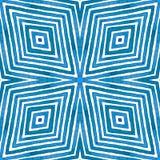 Aquarelle géométrique bleue Modèle sans couture vivant Rayures tirées par la main Texture de brosse Ornement excellent de Chevron image stock