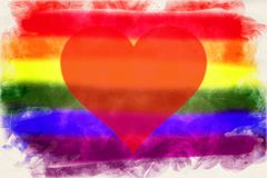 Aquarelle of the gay pride flag with red heart vector illustration