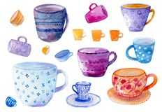 Aquarelle hand getrokken reeks met verschillende kleurrijke koppen en mokken op de witte achtergrond stock afbeeldingen