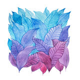 Aquarelle illustration of overlapping leaves drawn with cool color combination Stock Photos
