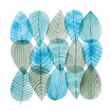 Aquarelle illustration of overlapping leaves drawn with cool color combination. Royalty Free Stock Photos