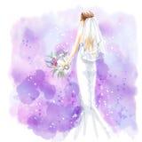 Aquarelle, jeune mariée dans la belle robe de mariage avec le bouquet Photographie stock libre de droits