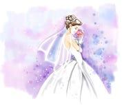 Aquarelle, jeune mariée dans la robe de mariage avec le bouquet Photographie stock libre de droits