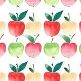Aquarelle juteuse de modèle de quatre pommes Photo libre de droits