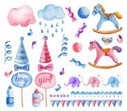 Aquarelle mignonne d'enfants réglée pour la fête de naissance illustration libre de droits