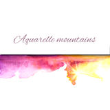 Aquarelle mountains yellow violet. Vector watercolor background. Painterly watercolorl abstract texture. Vector design elements. Vintage romantic background Stock Illustration
