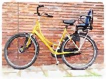 Aquarelle numérique de bicyclette jaune Photos libres de droits