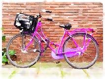 Aquarelle numérique de bicyclette rose Images libres de droits