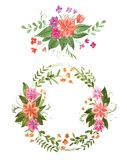 Aquarelle painting of floral wreath made of wild flowers isolated on white background Stock Image