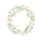 Aquarelle painting of floral wreath made of wild flowers isolated on white background Royalty Free Stock Photo