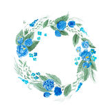 Aquarelle painting of floral wreath made of wild flowers isolated on white background Stock Images