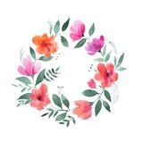 Aquarelle painting of floral wreath made of wild flowers isolated on white background Stock Photography