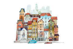 Aquarelle painting of high narrow houses in Europe. Hand drawn postcard  old European street on white background Stock Images