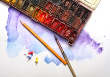 Aquarelle painting lesson background image Stock Photo