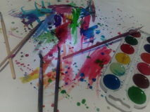 Aquarelle and paints Stock Photo