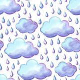 Aquarelle pattern with clouds and rain. Watercolor autumn seamless background Stock Photos