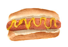 Aquarelle peinte à la main de hot-dog avec la grande saucisse et de moutarde d'isolement sur le fond blanc Photographie stock libre de droits