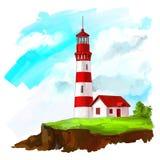 Aquarelle peinte par illustration de vecteur de phare illustration stock