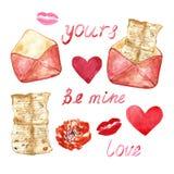 Aquarelle réglée avec les éléments peints à la main - lettre de kove, coeurs, lèvres Symboles de l'amour dans le style de cru illustration libre de droits