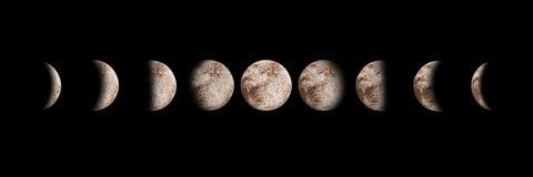 Aquarelle réglée par phases de lune d'isolement photo libre de droits