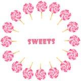 Aquarelle r?gl?e avec les bonbons roses illustration de vecteur