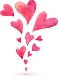 Aquarelle rose peinte ressort volant de coeurs Image stock