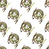 Aquarelle sans couture de modèle de soupe miso illustration libre de droits