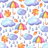 Aquarelle seamless pattern with autumn elements. Watercolor decorative umbrella, clouds and rain Stock Photography