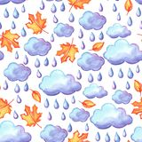 Aquarelle seamless pattern with autumn elements. Watercolor decorative leaves, clouds and rain Stock Photography