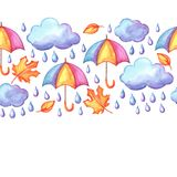 Aquarelle seamless pattern with autumn elements. Watercolor decorative umbrella, clouds and rain Stock Photos