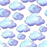 Aquarelle seamless pattern with clouds. Watercolor autumn background Royalty Free Stock Photo