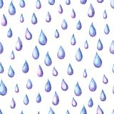 Aquarelle seamless pattern with raindrops. Watercolor autumn background Royalty Free Stock Photo