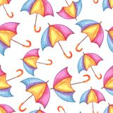 Aquarelle seamless pattern with umbrellas. Watercolor autumn background Royalty Free Stock Photography