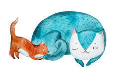 Aquarelle sketch of cartoon mother cat sleeping while her little kitten playing Stock Image