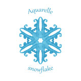 Aquarelle snowflake, hand drawn watercolor winter symbol Royalty Free Stock Photo